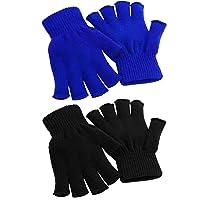 Cooraby - 2 pares de guantes de medio dedo, mitones, diseño cálido para invierno, unisex (L para adultos, M para…