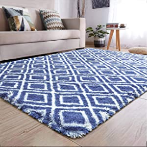 YJ.GWL Soft Indoor Large Modern Area Rugs Shaggy Patterned Fluffy Carpets Suitable for Living Room and Bedroom Nursery Rugs Home Decor Rugs for Christmas and Thanksgiving 5'x8'Indigo Trellis 2