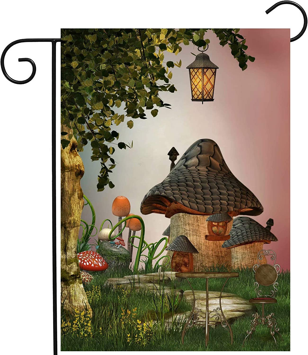 """ShineSnow Fantastic Fairy Tales Mushroom Garden Landscape Tree Light Garden Yard Flag 12""""x 18"""" Double Sided, Polyester Welcome House Flag Banners for Patio Lawn Outdoor Home Decor"""
