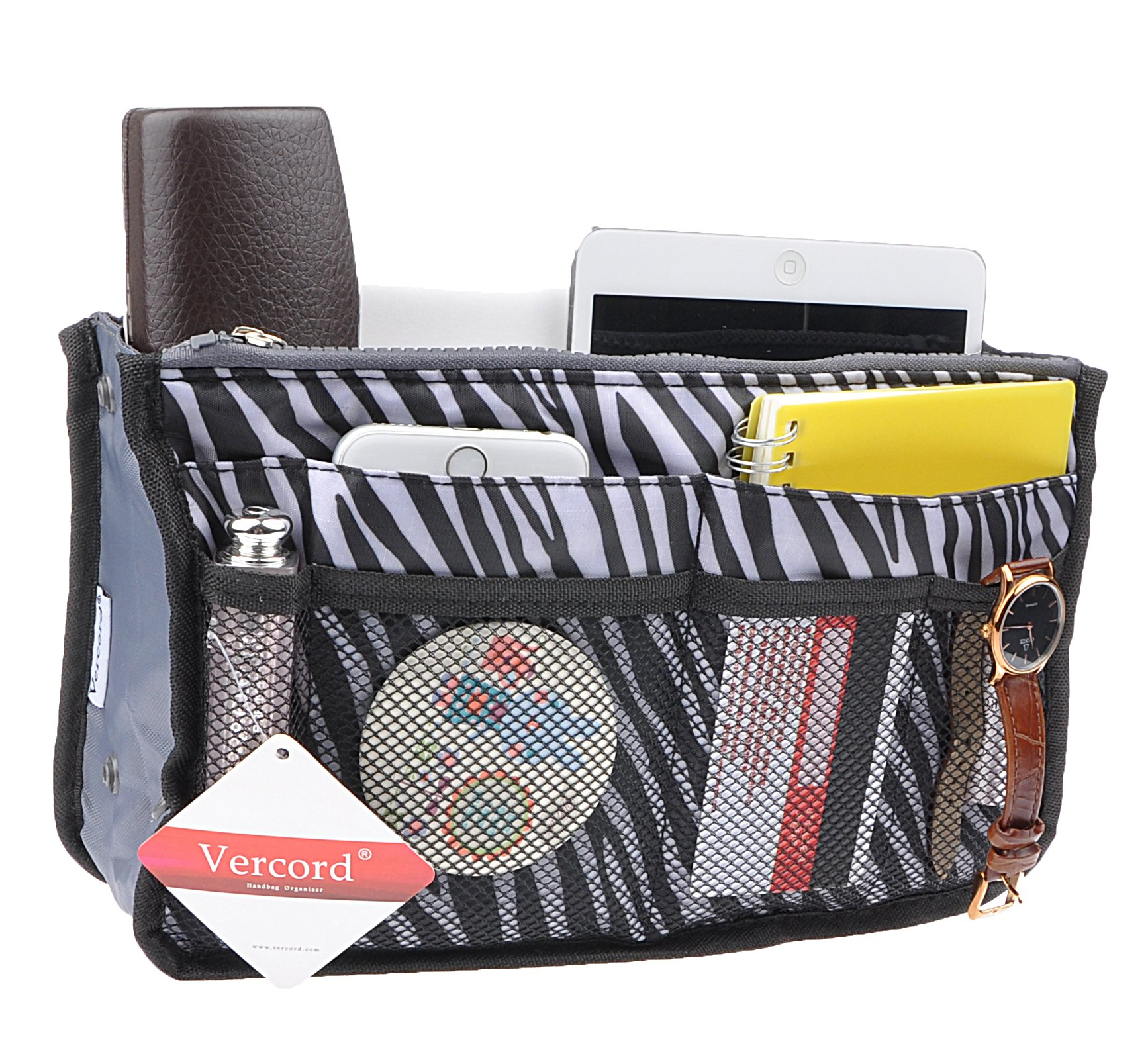 Purse Organizer,Insert Handbag Organizer Bag in Bag (13 Pockets 15 Colors 3 Size) (M, zebra stripes)