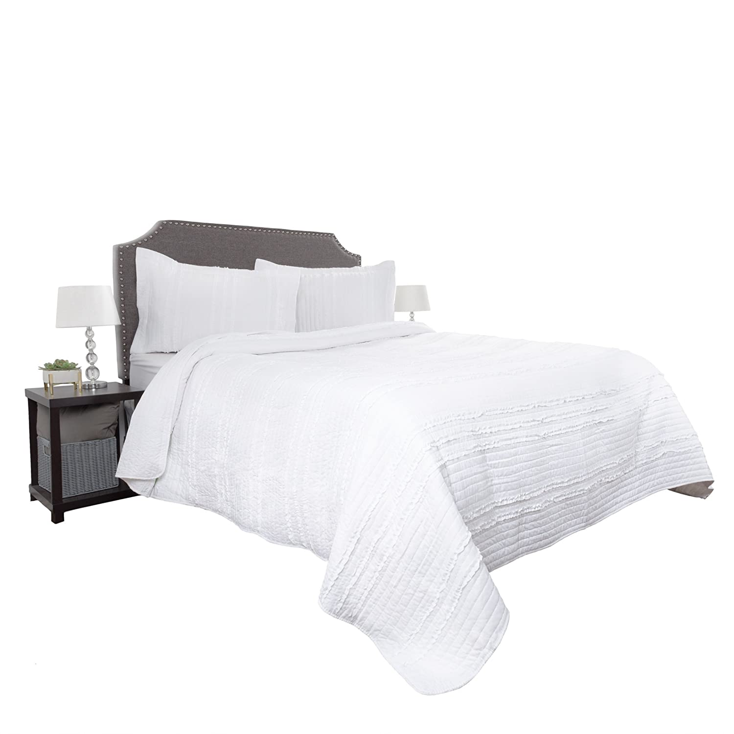 Hypoallergenic 3 Piece Oversized Full//Queen Quilt Bed Set with Striped Ruffle Design 66-10069-FQ-I Quilt and Sham Set Ivory Kadyn Series By Lavish Home