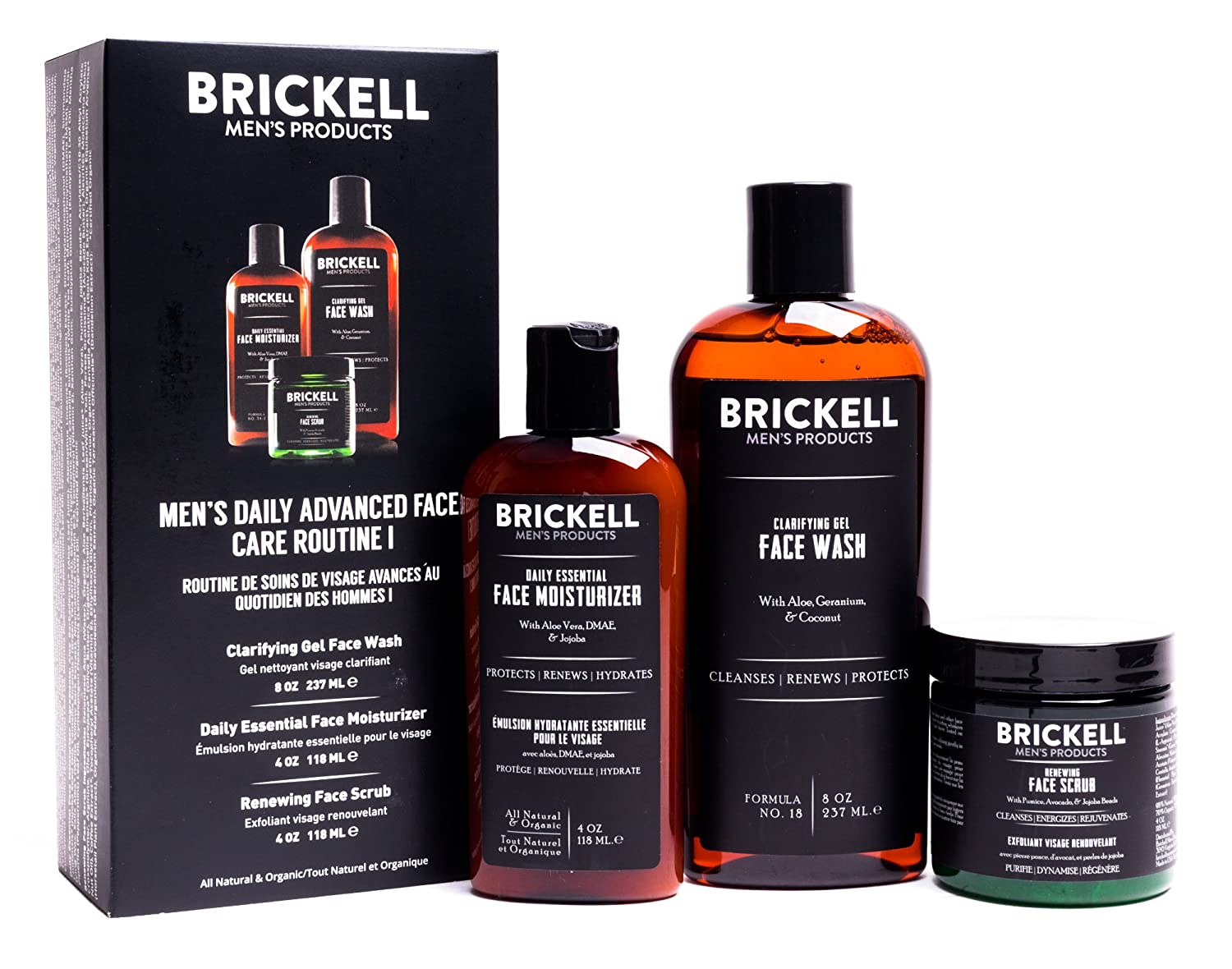 Brickell Men's Daily Advanced Face Care Routine I - Gel Facial Cleanser Wash + Face Scrub + Face Moisturizer Lotion - Natural & Organic Brickell Men's Products