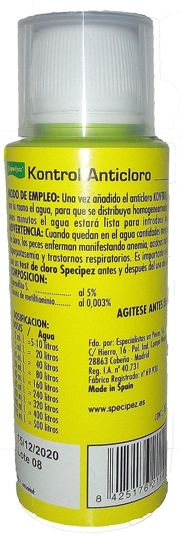 Specipez ® - KONTROL - Anticloro Que Elimina rápidamente el Cloro del Agua del Acuario, o del Agua del Grifo Que se USA para el Acuario con Peces o ...