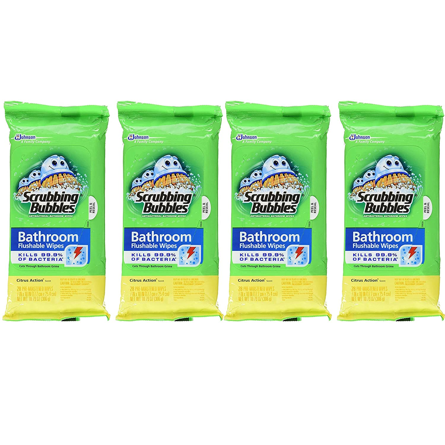 Scrubbing Bubbles Flushable Bathroom Wipes、28カウント、(パックof 3 ) 4-Pack B07D4HY6DP  4-Pack