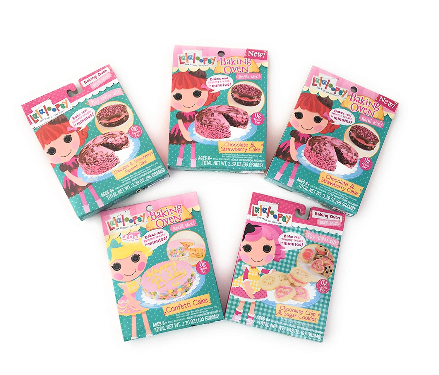 Lalaloopsy Baking Oven Refill Mix 3 Chocolate Strawberry Cake, 1 Chocolate Chip & Sugar Cookie and 1 Confetti Cake Complete Set of 5 Pack Bundle