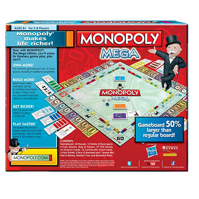 amazon com winning moves games monopoly the mega edition toys games rh amazon com Life-Size Monopoly Board Game Life-Size Monopoly Board Game