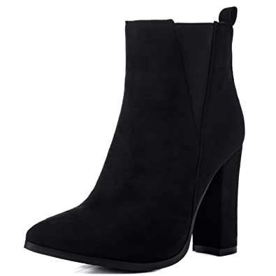Radiant Women's Pointed Toe Block Heel Chelsea Ankle Boots