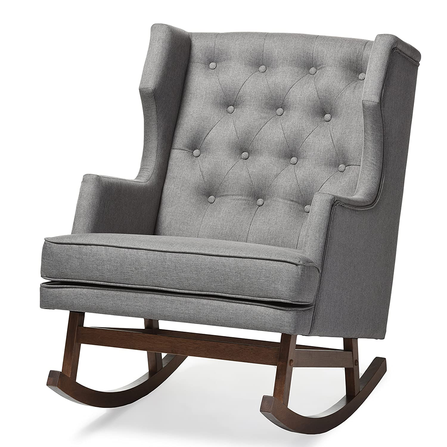 Amazon.com: Baxton Studio Iona Mid Century Retro Modern Fabric Upholstered  Button Tufted Wingback Rocking Chair, Grey: Kitchen U0026 Dining