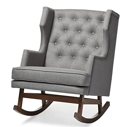 Merveilleux Baxton Studio Iona Mid Century Retro Modern Fabric Upholstered  Button Tufted Wingback Rocking Chair