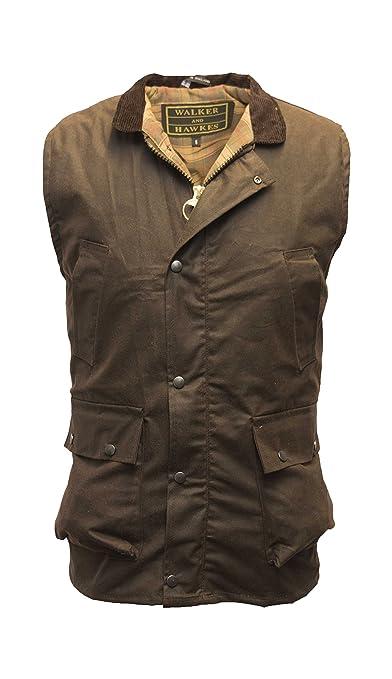 1af5cf9a21f Walker   Hawkes - Mens Wax Bodywarmer Waistcoat Countrywear Gilet  Amazon.co.uk   Clothing
