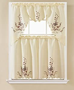 DiamondHome 3 Piece Embroidery Butterfly Kitchen Café Curtain Window Treatment Tier and Valance Set (Beige/Brown Butterfly)