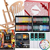 MEEDEN 47-Piece Acrylic Painting Set - Solid Beech Wood Table Easel, Canvas Panels, Acrylic Paintbrush Set, 24 Colors Acrylic Paint Tubes, Acrylic Pad, Wood Paint Palette, Kids