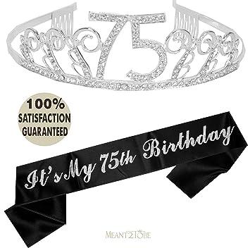 75th Birthday Tiara And Sash Happy Party Supplies 75 Fabulous Black