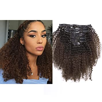 Ombre Afro Kinky Curly Hair Extensions Human Hair Clip in Extensions 4B 4C  10,22 inch Color T1B/4 Black to Dark Brown Thick Natural Balayage Hair