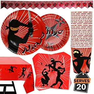 82 Piece Ninja Birthday Party Supplies Set Including Banner, Plates, Cups, Napkins, and Tablecloth, Serves 20