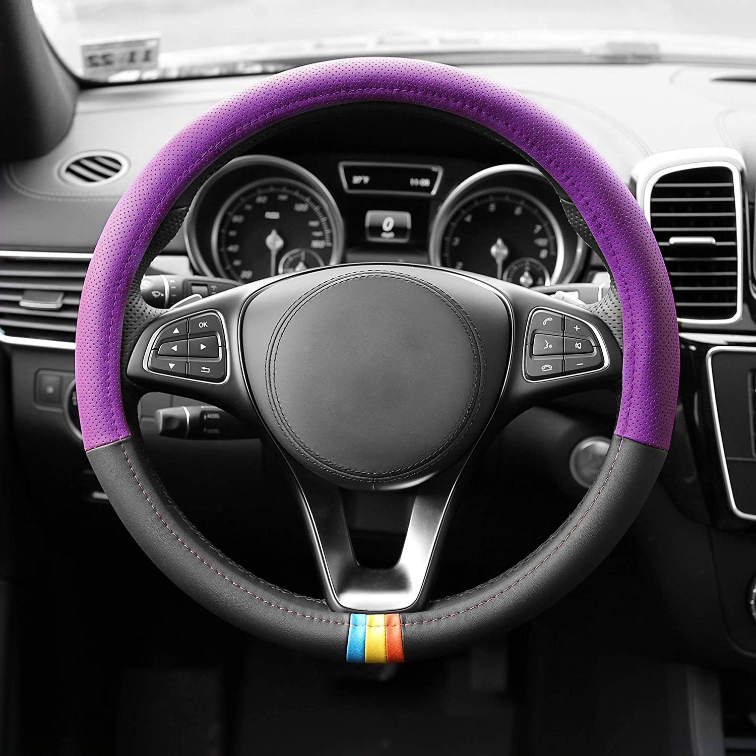 FH Group FH2008 Full Spectrum Genuine Leather Steering Wheel Cover (Purple) – Universal Fit for Cars Trucks & SUVs