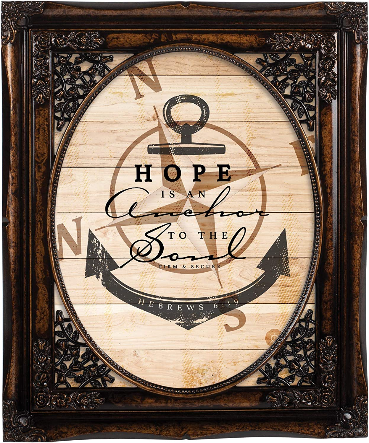 Cottage Garden Hope is an Anchor to The Soul Burlwood Floral Cutout 8 x 10 Table Top and Wall Photo Frame
