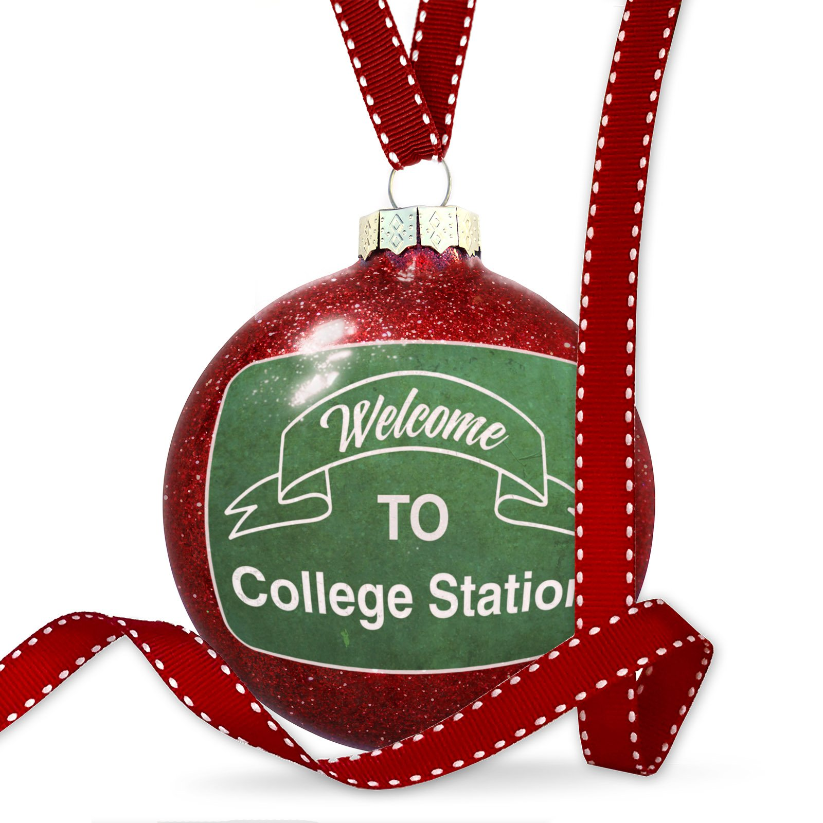 Christmas Decoration Green Sign Welcome To College Station Ornament