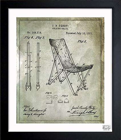 Wondrous Amazon Com Oliver Gal Folding Chair 1881 Green Framed Art Evergreenethics Interior Chair Design Evergreenethicsorg