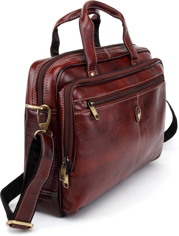 WildHorn Leather 39.37 cms Brown Messenger Bag (WHBB101)