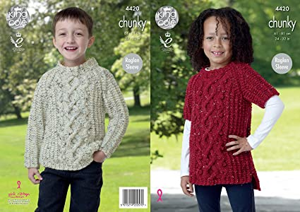 King Cole Knitting Pattern Girls Boys Cable Detail Raglan Sleeve