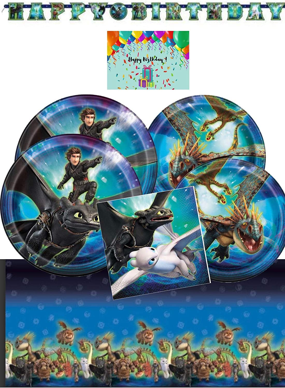 How To Train Your Dragon Deluxe Party Supplies Pack for 16 - Tablecover, Lunch Plates, Dessert Plates, Napkins, Birthday Banner Bundles with Birthday Card by JPMD Party House