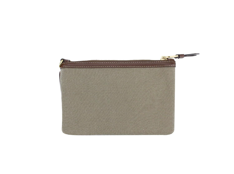 e8473e2085a4 Amazon.com: Prada Canvas Fabric Signature Logo Cosmetic Wristlet Pouch,  Beige/brown: Beauty