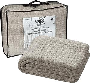 HILLFAIR 100% Soft Premium Combed Cotton Thermal Blanket– King Blankets – Soft Cozy Warm Cotton Blanket– Bed Throw Blanket– King Bed Blankets– All Season Cotton Blankets– Sand King Cotton Blanket