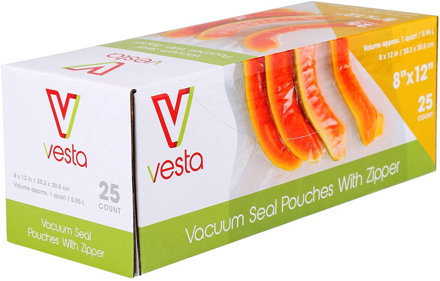 Zipper Vacuum Seal Pouches by Vesta Precision | Clear and Embossed Vacuum Sealer Bags | With Zipper | No Valve | 8 x 12 inches | 25 Vacuum Bags per Box