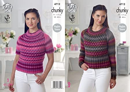 66c3bf98e499fa Image Unavailable. Image not available for. Colour  King Cole 4712 Knitting  Pattern Womens Raglan Sweaters ...