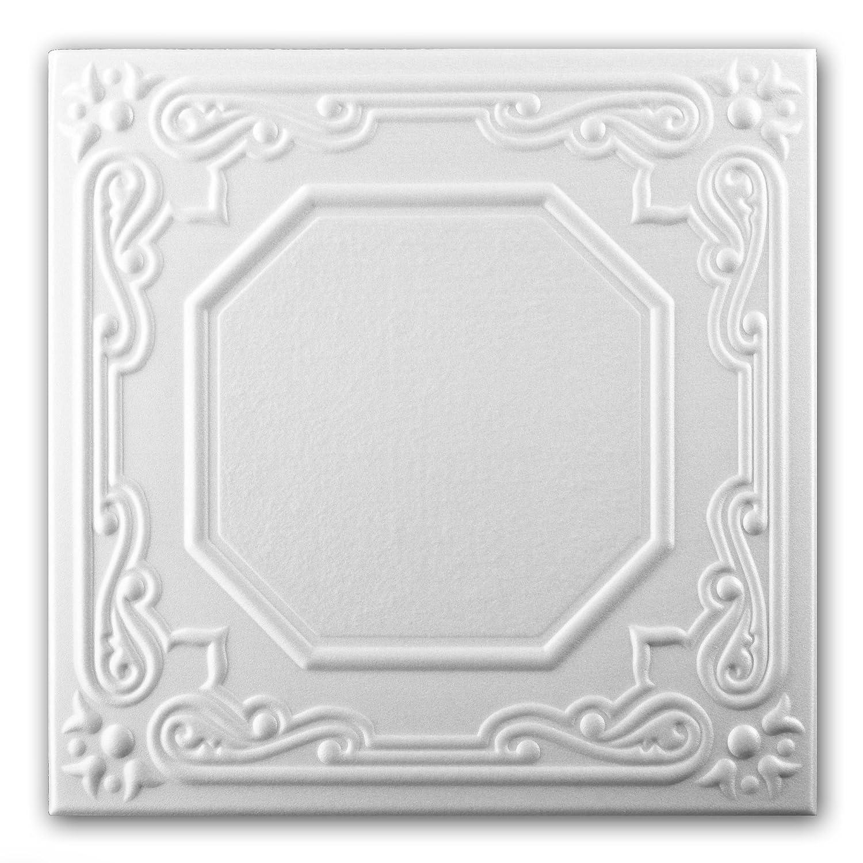 Azulejos de techo de espuma de poliestireno 0868 (paquete de 96 pc / 24 metros cuadrados) Blanco VTM