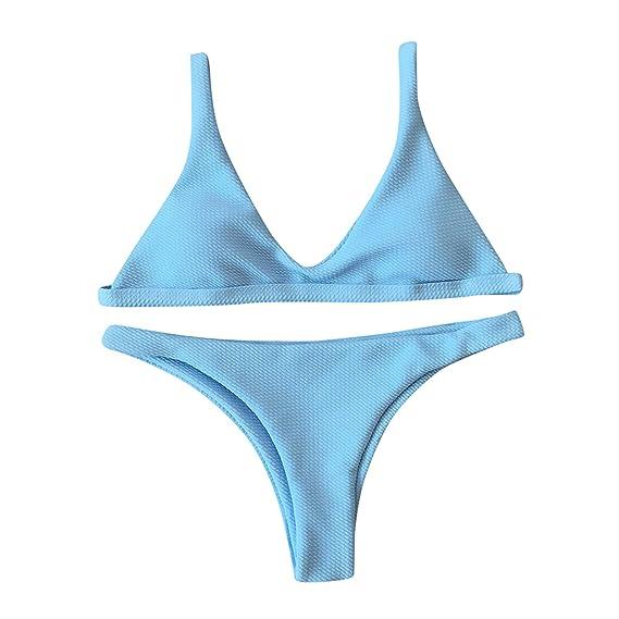 Longra Mujer Bañadores Ropa de Atractivas Tirantes Color Sólido Bikini Push Up y Tanga Conjuntos /