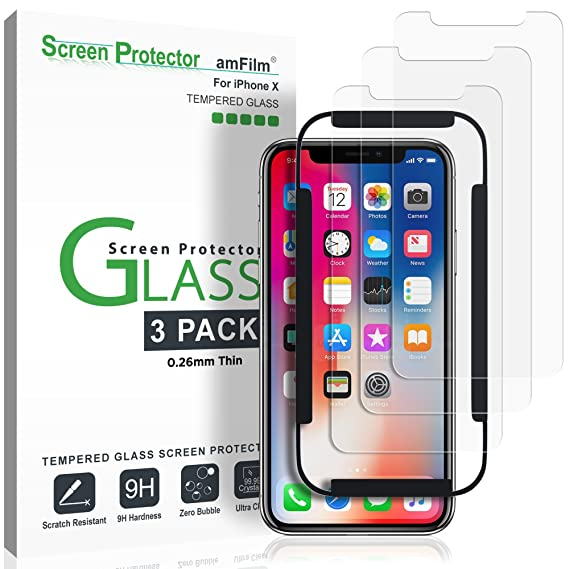 low priced ea832 b2ed1 iPhone Xs/X Screen Protector Glass (3-Pack), amFilm iPhone Xs/X 0.26mm  Tempered Glass Screen Protector with Easy Installation Tray for Apple  iPhone ...