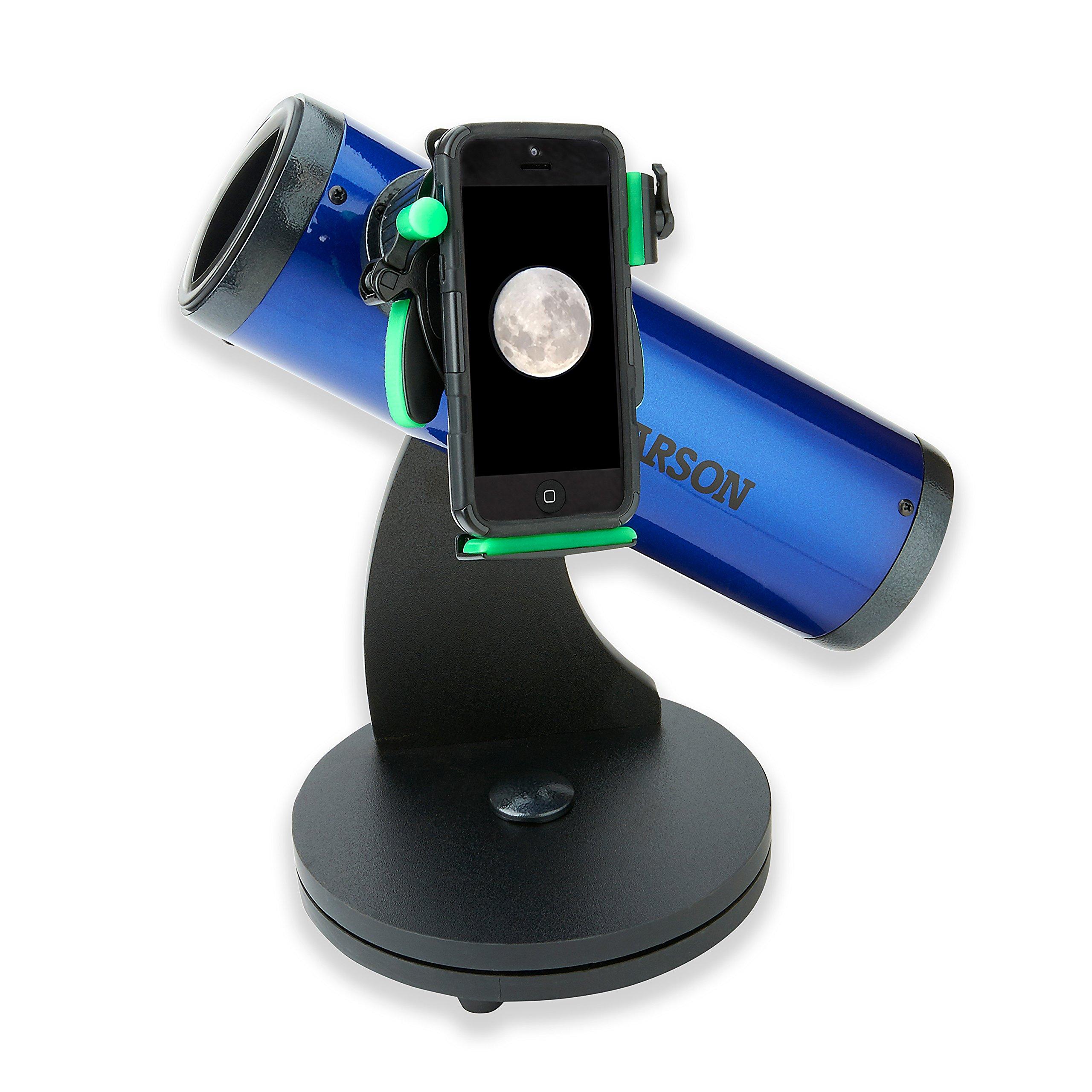 Carson SkySeeker 15x-37.5x Newtonian Reflector Beginner Telescope with Universal Smartphone Optics Digiscoping Adapter (JC-200UN) by Carson
