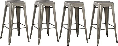BTEXPERT 4-Pack 30 Solid Steel Stacking Industrial Distressed Rustic Metal Tabouret Dining Room Modern Steel Barstool Set of 4 Bar Stool
