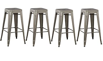 BTEXPERT 4 Pack Solid Steel Stacking Industrial Distressed Rustic Metal Tabouret Dining room