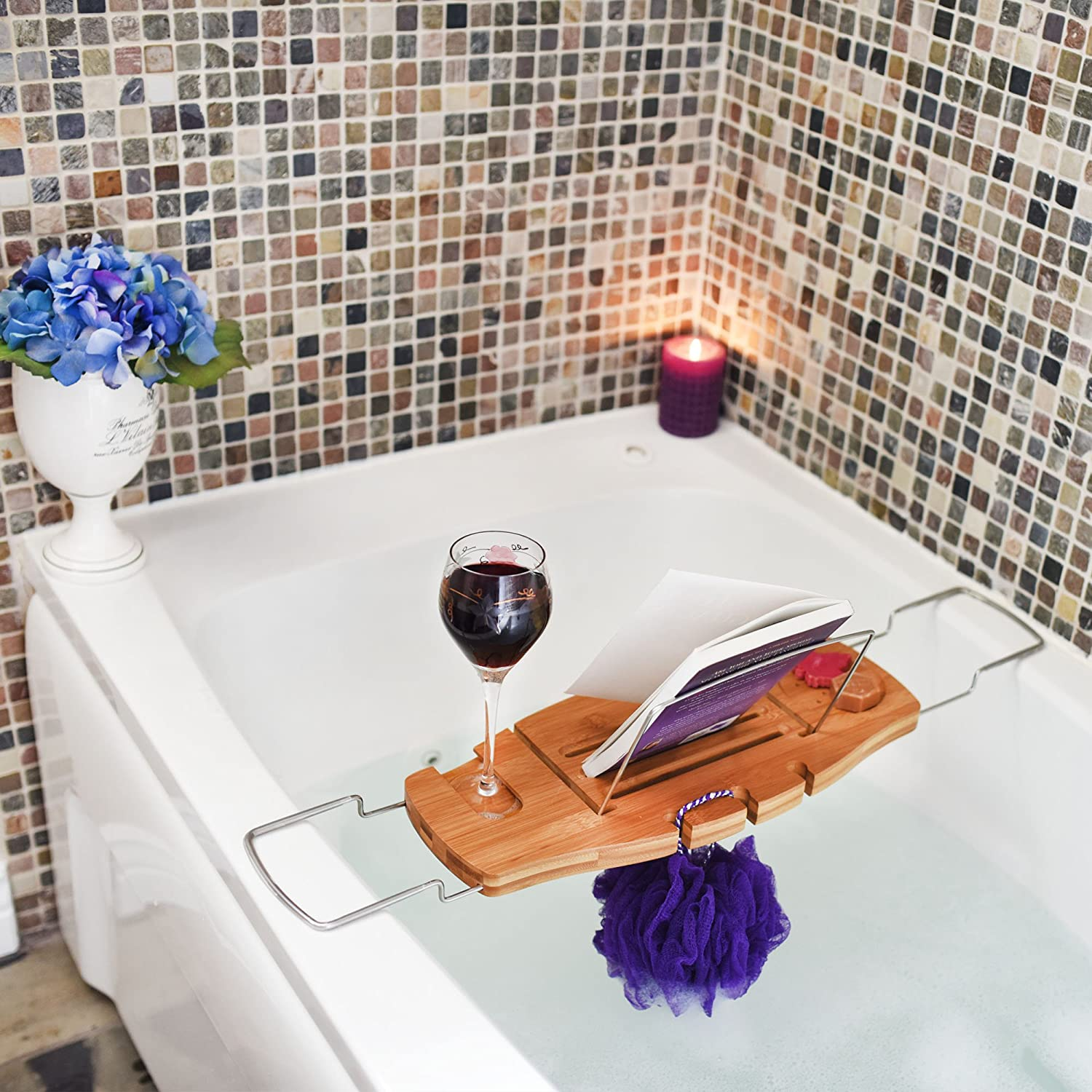 Ultimate Bamboo Bathtub Caddy Wood Tray Table with Non Slip ...