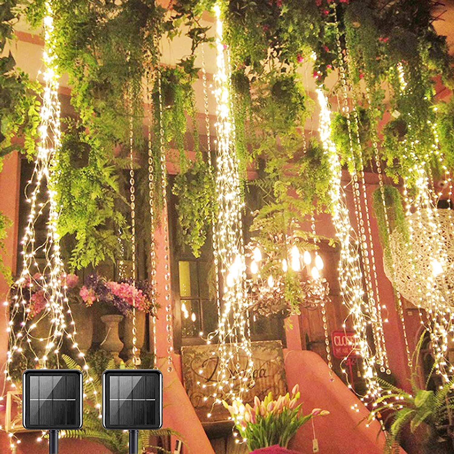PXB 2 Pack 220 LED Firefly Bunch Lights, 8 Flashing Modes Waterproof Copper Wire Waterfall Lights, Fairy Lights for Vine Watering Can Christmas Bedroom Indoor Outdoor Decor Lights (Solar Warm White)