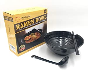 Ramen Bowl Set - Black Melamine - 3pcs Japanese Style Soup Bowl Set with Japanese Chopsticks, Ladle Spoon and Large 37oz Bowl for Shin Ramen, Pho Noodles, Asian Food, Korean Ramen and Nongshim Ramen.