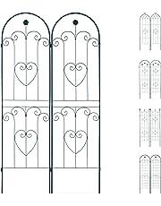 Relaxdays Set 2 Grigliati per Rampicanti, in Metallo 180x50cm Design ad Archi Fiori e Cuori, ad Incastro, Verde Scuro, 180 x 50 cm