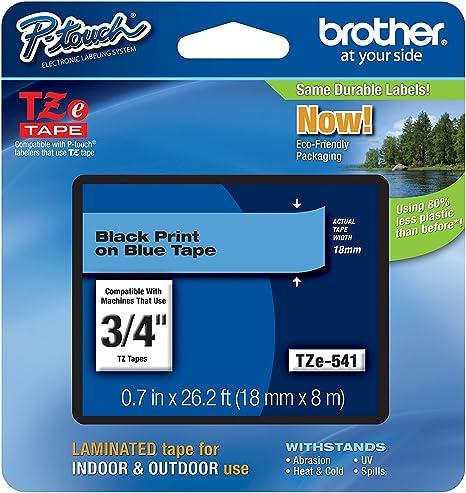 Easy 2x kompatible Schriftbänder für Brother TZE541 Schwarz auf Blau 18mm x 8m