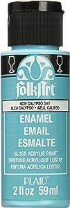 FolkArt Enamel Glass & Ceramic Paint in Assorted Colors (2 oz), 4039, Calypso Sky