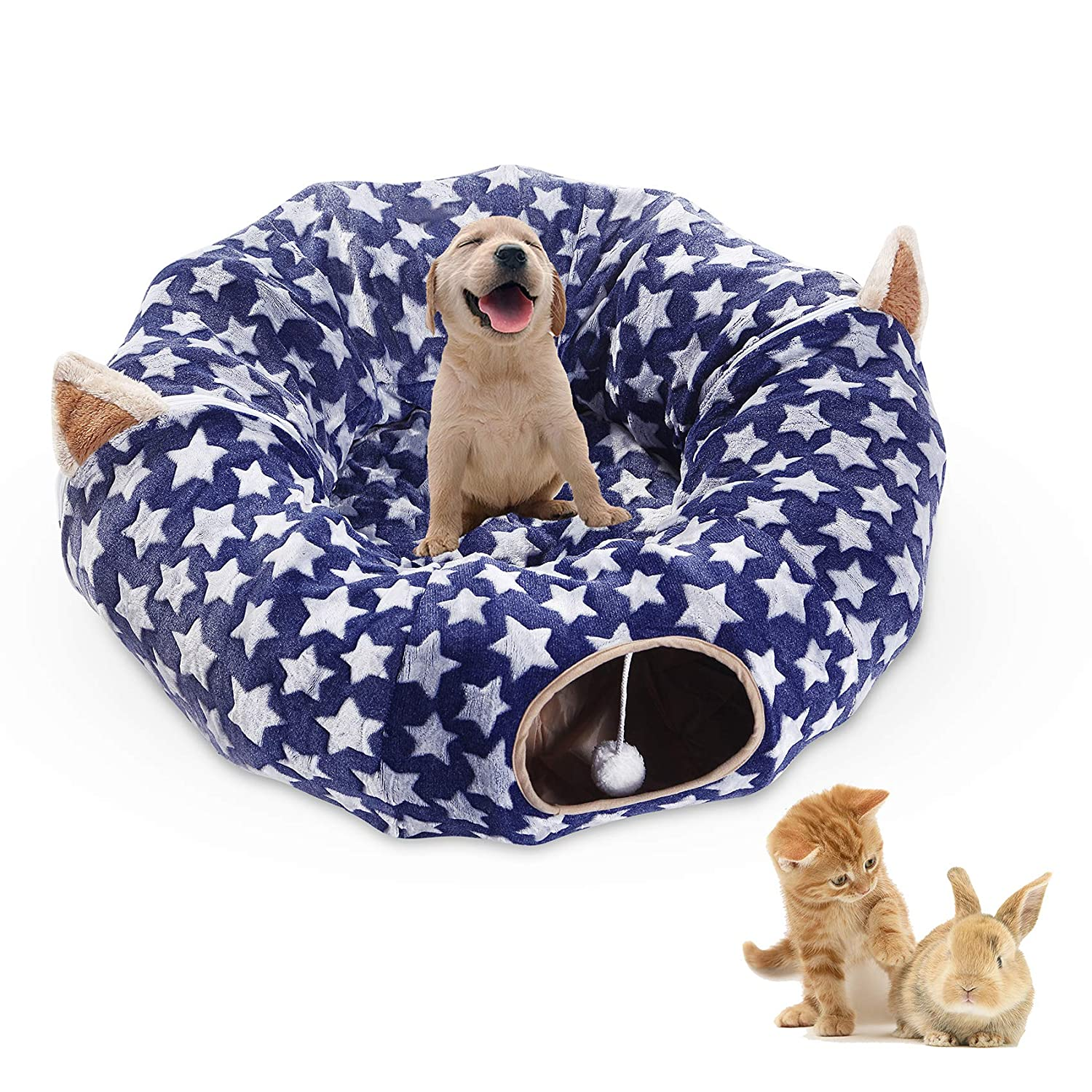 Navy Large Cat Dog Tunnel Bed with Washable Cushion Big Tube Toys Plush 6 FT Diameter Longer Crinkle Collapsible 3 Way,Gift for Small Medium Large Kitten Small Puppy Outdoor Navy bluee