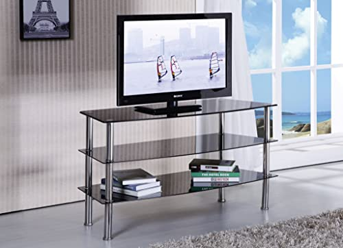 Major-Q Modern Black Tempered Glass Top Stand Support up to 52 Flat Panel TV