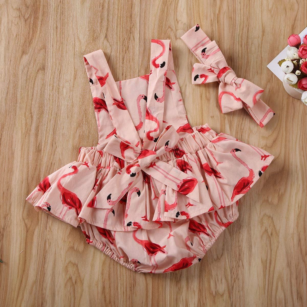 Muasaaluxi Newborn Baby Girls Flamingo Sleeveless Romper Backless Bodysuit Jumpsuit Headband Summer Outfits 0-24M
