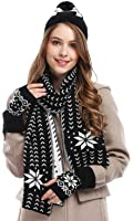 Bienvenu Women's Snowflake Hat Gloves and Scarf Winter Set