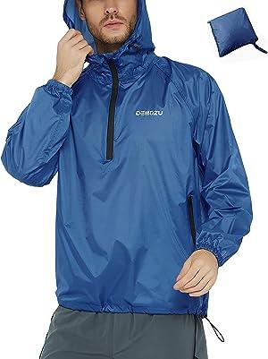 DEMOZU Men's Waterproof Running Cycling Rain Jacket Lightweight Packable Hiking Biking Hooded Windbreaker Jacket