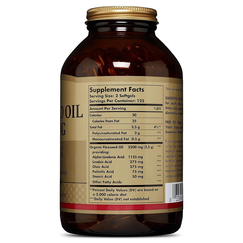 Solgar Flaxseed Oil 1250 mg, 250 Softgels