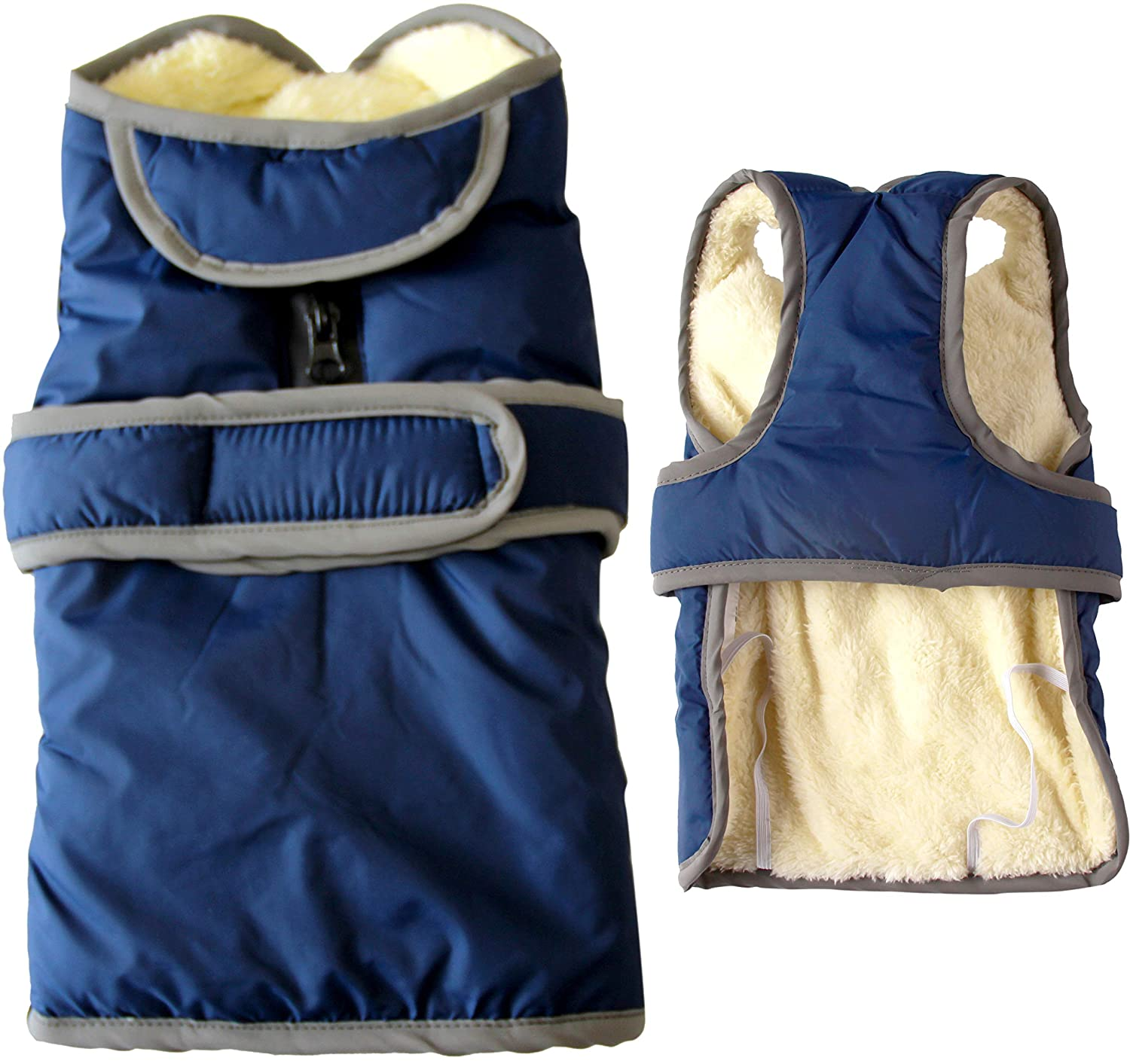 bluee M bluee M vecomfy Small Dog Jackets with Semicircular Lapel,Winter Super Warm Fleece Soft Puppy Coats bluee,M