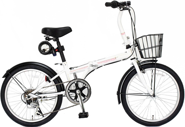 JEFFERYS(ジェフリーズ) AMADEUS 20インチ 折りたたみ自転車 FDB206 シマノ6段変速 前後泥除け/カゴ/LEDライト/ワイヤーロック標準装備 JP8572 B00TI3NX0Yマットホワイト サクラ